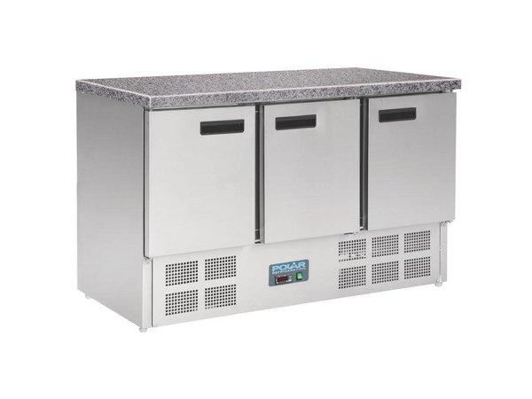 XXLselect Koelwerkbank RVS - 3 Deurs - Marmeren Werkblad - 700x1370x880(h)mm