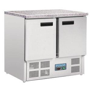 Polar Kühle Workbench SS - 2 Türen - Marmorplatte - 700x900x890 (h) mm