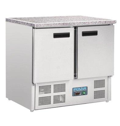 Polar Kühle Workbench RVS - 2 Deurs - Marmor Arbeitsblatt - 700x900x890 (h) mm