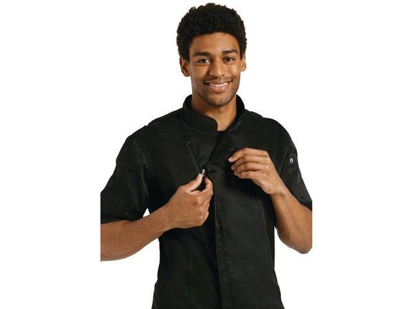 XXLselect Koksbuis Springfield met Rits - Chef Works - Korte Mouwen - Beschikbaar in 4 Maten - Zwart
