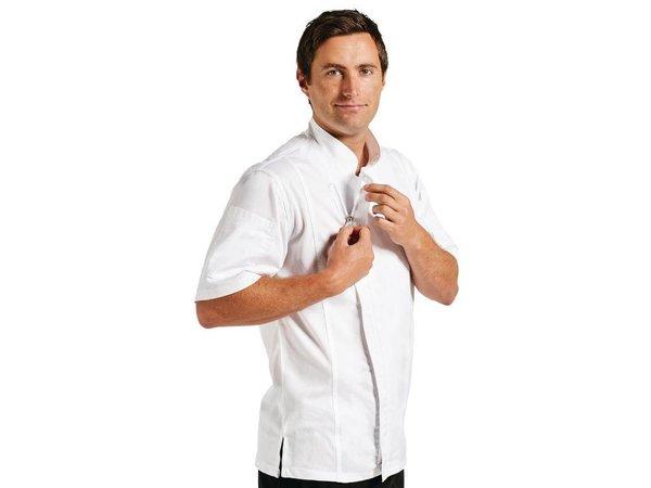 XXLselect Koksbuis Springfield met Rits - Chef Works - Korte Mouwen - Beschikbaar in 4 Maten - Wit