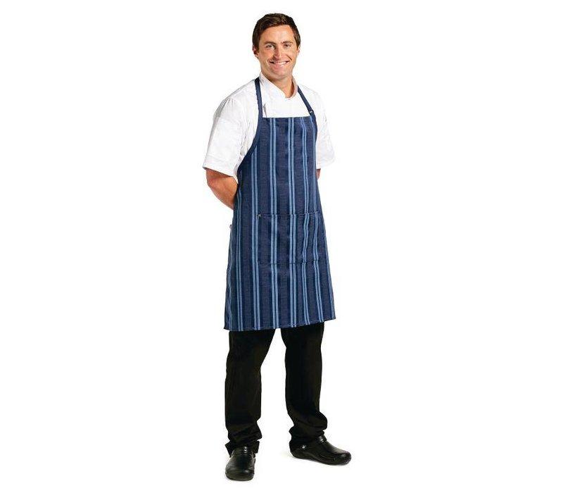 XXLselect Halterschort Presidio - Chef Works - Blauw Gestreept - Dubbele Voorzak - 330(b)x200(l)mm
