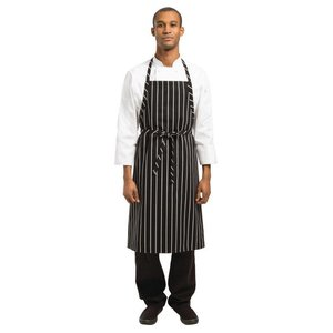 XXLselect Geweven Schort - Chef Works - Zwart/Wit Gestreept - 990(l)x940(b)mm