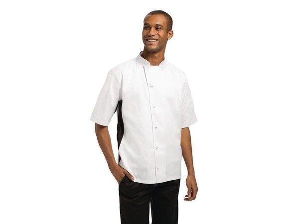 XXLselect Whites Koksbuis Nevada - Korte Mouwen - Wit met Zwart Contrast - Beschikbaar in 6 Maten - Unisex