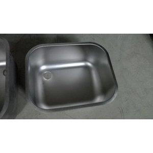 XXLselect Additional stainless steel Sink XL serving Sinks, Desks - 500x400x250 (h) mm - INCLUDING MOUNTING