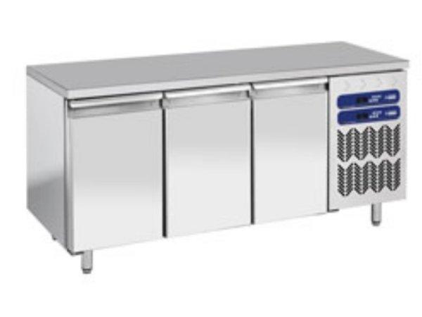 Diamond Stainless Steel Workbench with Fridge / freezer combination - 1809x700x (h) 880 / 900mm - 3 Doors