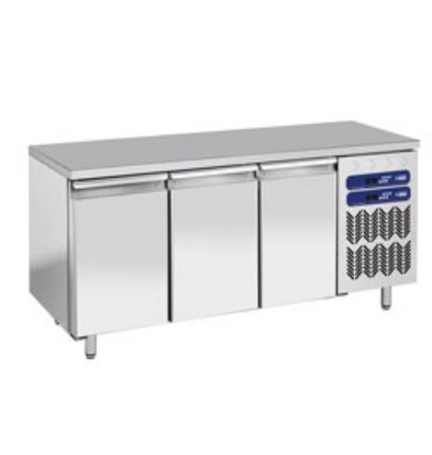 Diamond Stainless Steel Workbench with Fridge / freezer combination - 1809x700x (h) 880 / 900mm - 3 Doors