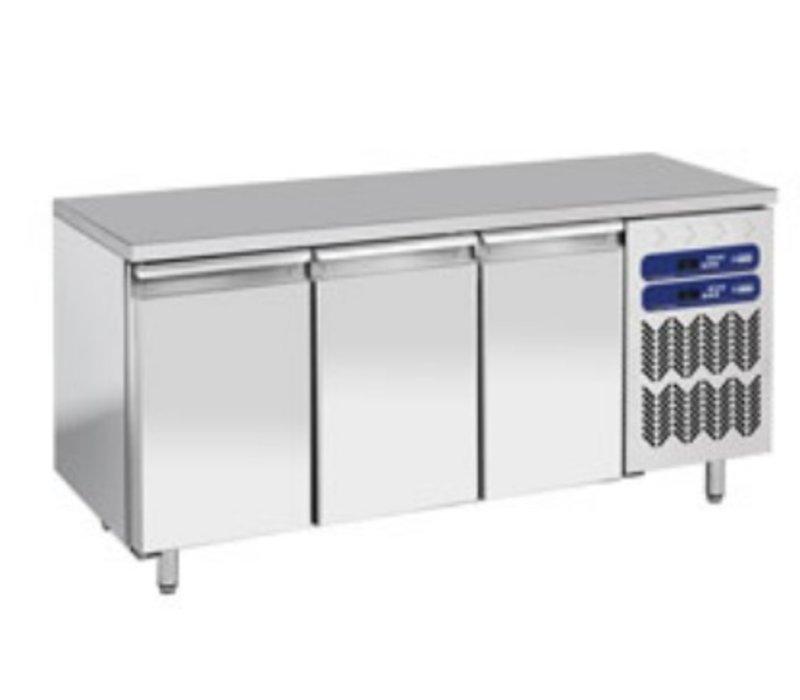 Diamond RVS Werkbank met Koel/vries Combinatie - 1809x700x(h)880/900mm - 3 Deurs