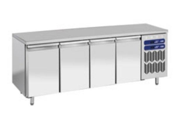 Diamond RVS Werkbank met Koel/vries Combinatie - 2256x700x(h)880/900mm - 4 Deurs