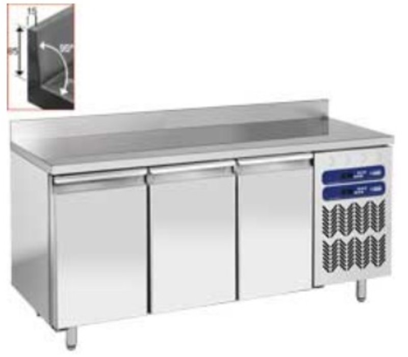 Diamond RVS Werkbank met Koel/vries Combinatie - met Spatrand - 1809x700x(h)880/900mm - 3 Deurs