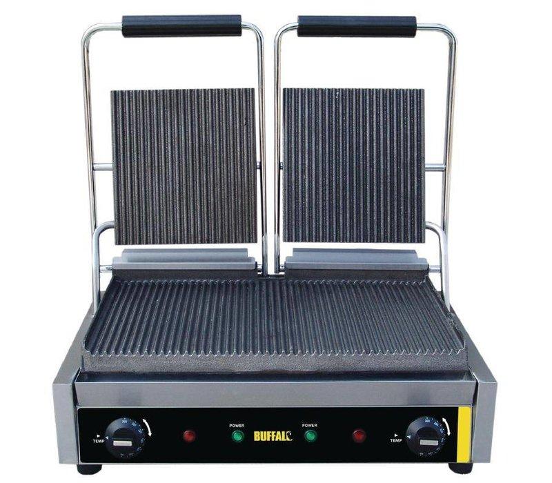 Buffalo Budget Kontakt Grill Doppel gerippt - 21 (h) x47,5x32 - 3000W