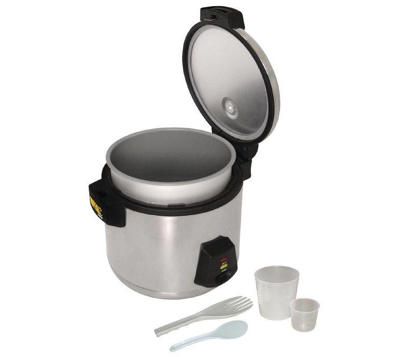 Buffalo Stainless Steel Rice Cooker - 33 Servings per Boil rice + measuring cup + rice spoon - 13 Liter