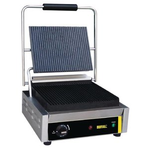 Buffalo Horeca Contact Grill Large | Corded / ribbed | 360x320x (H) 210mm | 2000W