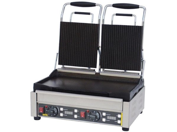 Buffalo Contact Grill Double - Heavy Duty - Ribbed / Smooth - 48x40x (h) 24cm- 2900W - Digital