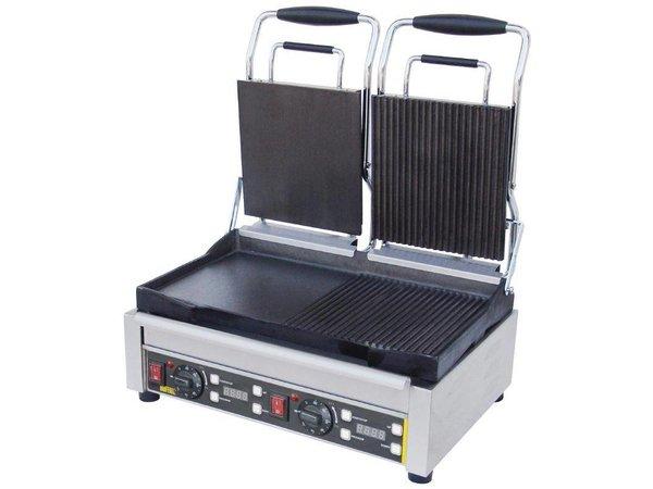 Buffalo Contact Grill Double - Heavy Duty - Right Rib / Rib - Left Smooth / Smooth - 2900W - Digital