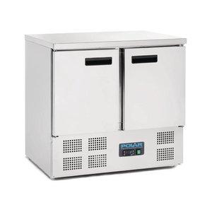 Polar Kühle Workbench - SS - 2 Türen - 90x70x (h) 85cm - Mit Rädern