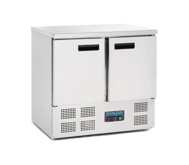 Polar Koelwerkbank - RVS - 2 Deurs - 90x70x(h)85cm - Met Wielen