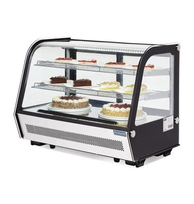 Polar Tabletop design Refrigerated display case - black / stainless steel - 160 liters - 87x57x (h) 69cm