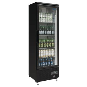 Polar Refrigerator with glass door Black - 370 Liter - 60x51x (h) 188cm
