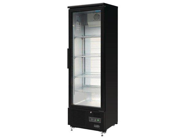 Polar Refrigerator with glass door Black - 370 Liter - 60x51x (h) 188cm