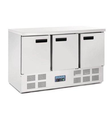 Polar Koelwerkbank - RVS - 3 deurs - 137x70x(h)85cm - BASIC