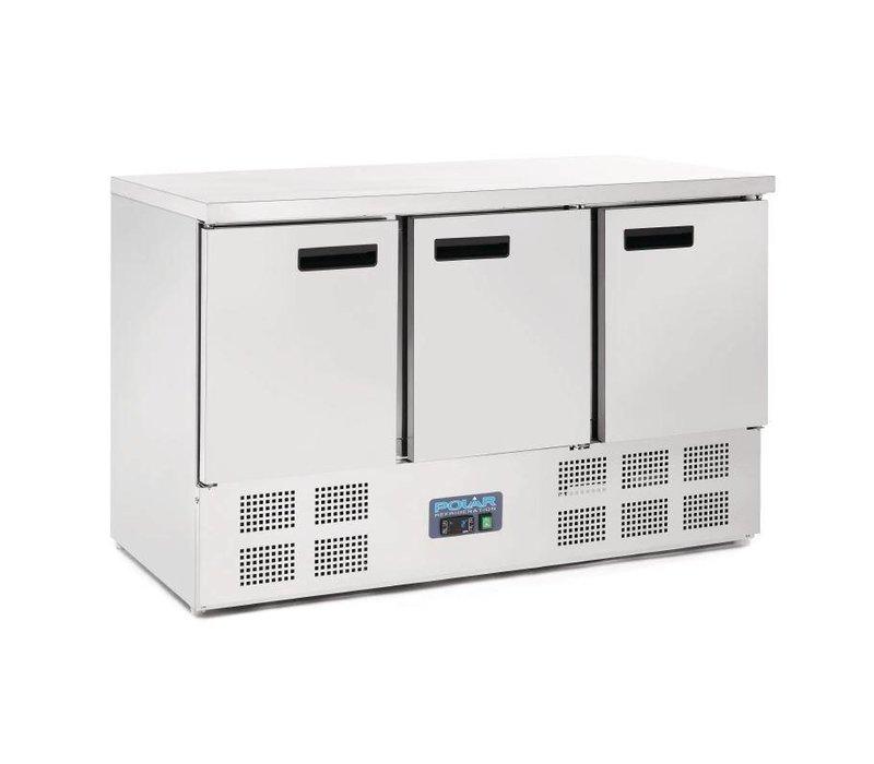 Polar Coole Workbench - RVS - 3 Türen - 137x70x (h) 85cm - BASIC