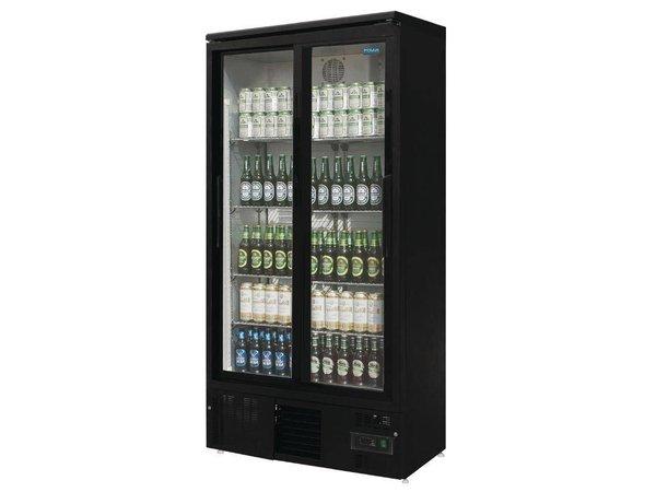 Polar Refrigerator with sliding door Black - 490 Liter - 92x51x (h) 188cm