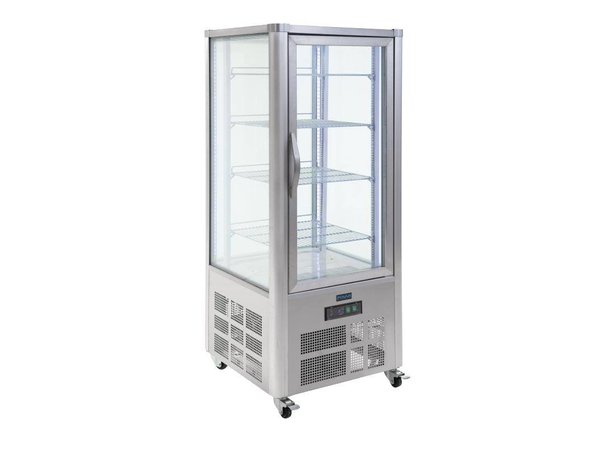 Polar Refrigerated display - Stainless Steel - 400 Liter - With Wheels - 70x70x (h) 180cm