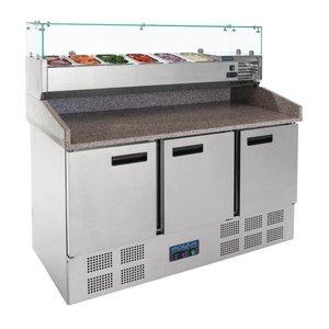 Polar Pizza Workbench - RVS - 3 Türen - 140x70x (h) 145cm - mit 6x 1/4 GN-Glas-Konstruktion