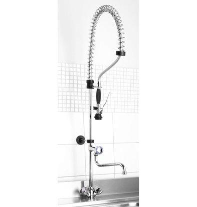 Hendi Vorwäsche Dusche mit Edelstahl-Spiralkran + Mixer - Hot and Cold - (H) 1000 mm - XXL ANGEBOT