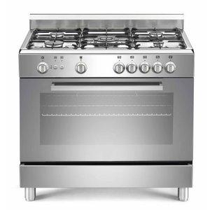 Saro Silber Gasherd mit 5 Stück + Elektro-Ofen + Grill 90 Liter | 900x600x (H) 850mm