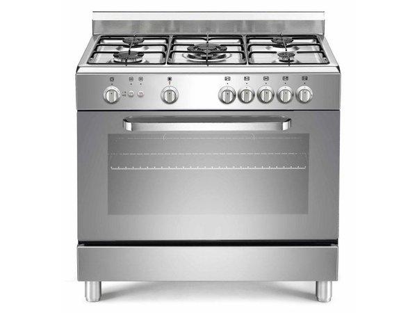 Saro Gasfornuis Zilver met 5 Pitten + Gasoven + Grill 90 Liter | 230V | 900x600x(H)850mm