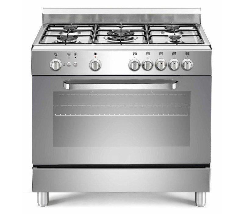 Saro Silver gas cooker with 5 Seeds + Gas oven and grill 90 Liter | 230 | 900x600x (H) 850mm