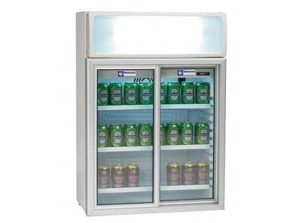 Diamond Koelkast - 100 Liter - 2 glazen schuifdeuren - 65x39x(h)93cm
