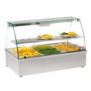 Diamond Warming Vitrine RVS - 1 Rosster - 3 x 1/1 GN stainless steel - 1020x602x (h) 680mm