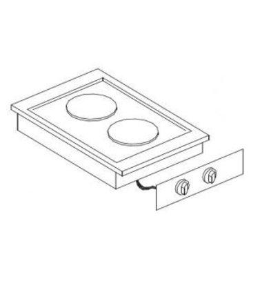 XXLselect Elektrische Kookunit | Drop-in | 2 Zones | 2x 2kW | 400x557mm
