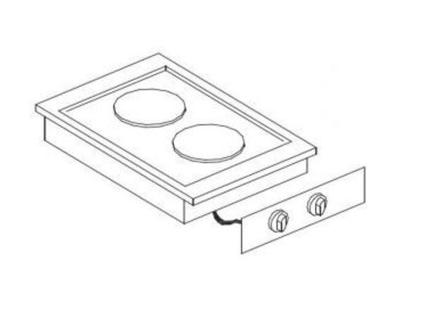 Combisteel Electric Cooking Unit | Drop-in | 2 Zones | 2x 2kW | 400x557mm