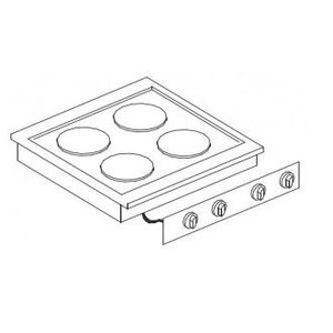 XXLselect Electric Cooking Unit | Drop-in | 4 Records | 4x 2kW | 400V | 600x557mm