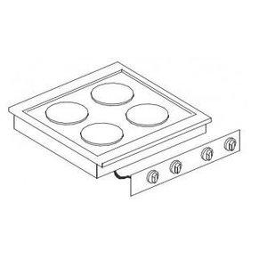 XXLselect Elektrische Kookunit | Drop-in | 4 Platen | 4x 2kW | 400V | 600x557mm