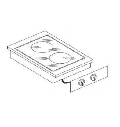XXLselect Ceramic Cooking Unit | Drop-in | 2 Zones | 1,8kW 1x and 1x 2.5kW | 400x557mm