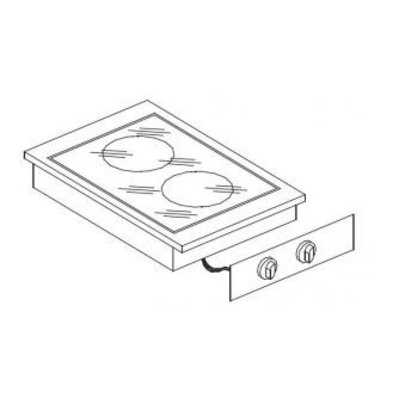 XXLselect Keramische Kookunit | Drop-in | 2 Zones | 1x 1,8kW en 1x 2,5kW | 400x557mm