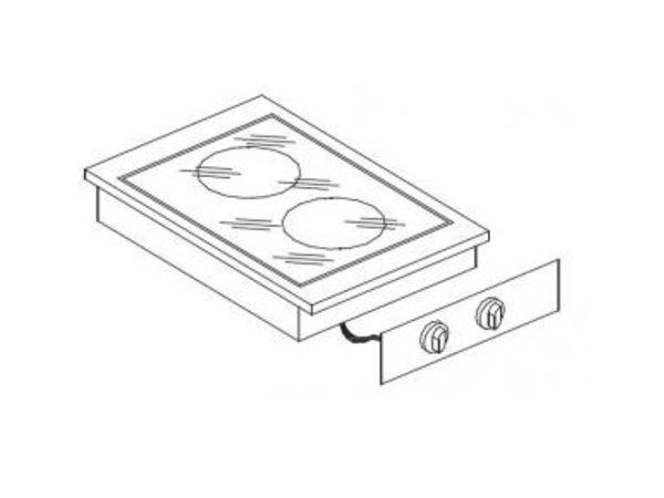 Combisteel Ceramic Cooking Unit | Drop-in | 2 Zones | 1,8kW 1x and 1x 2.5kW | 400x557mm