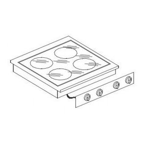 XXLselect Ceramic Cooking Unit | Drop-in | 4 Zones | 1.8 1x / 2x 3.5 / 2.5kW 1x | 400V | 557x600mm