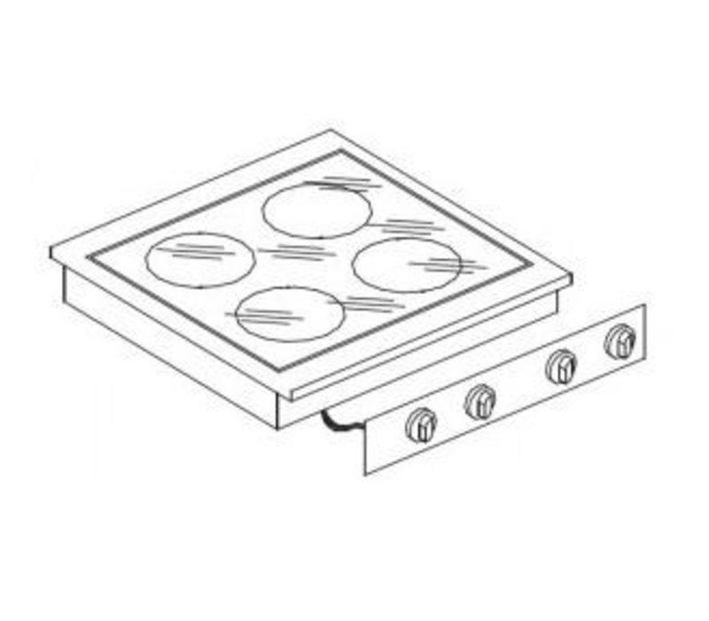 Combisteel Keramische Kookunit   Drop-in   4 Zones   1x 1,8 / 2x 3,5 / 1x 2,5kW   400V   557x600mm