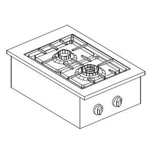 XXLselect Gas-Kocheinheit | Drop-in | 2 Brenner | 1x 1x 3,5kW und 6 kW | 557x400mm