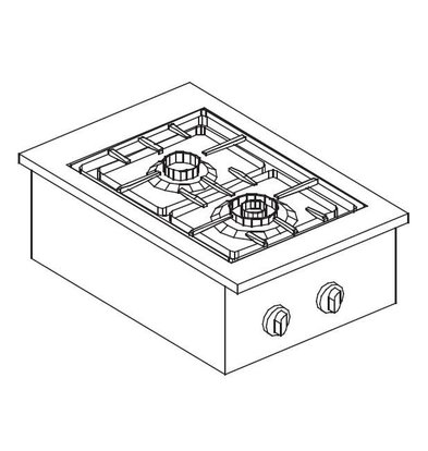 XXLselect Gas Cooking Unit | Drop-in | 2 Burners | 1x 1x 3,5kW and 6kW | 557x400mm