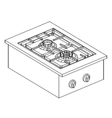 XXLselect Gas Kookunit | Drop-in | 2 Branders | 1x 3,5kW en 1x 6kW | 557x400mm