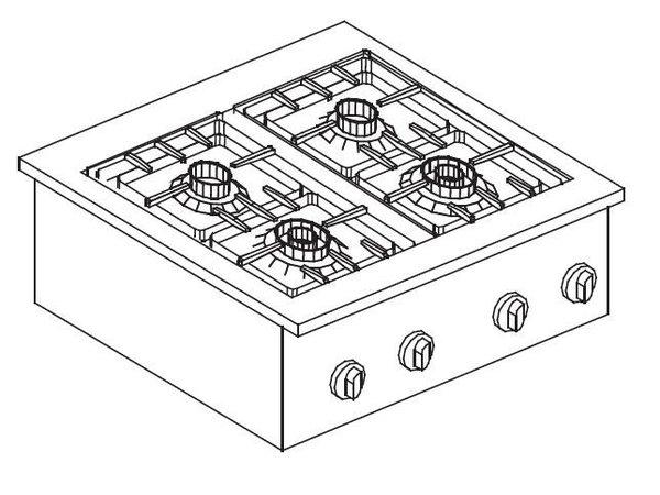 Combisteel Gas-Kocheinheit   Drop-in   4 Brenner   2x 2x 3,5kW und 6 kW   600x557mm