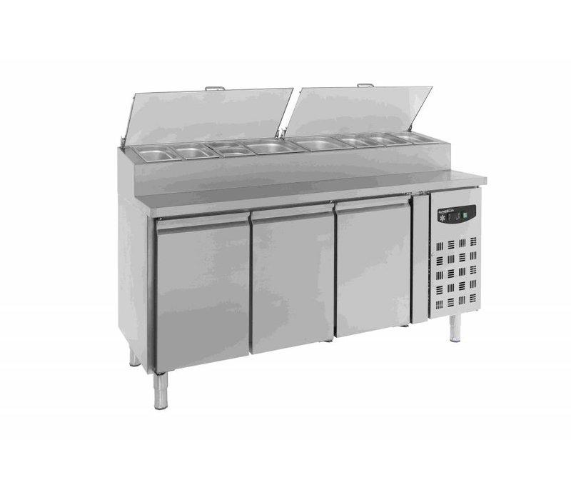 Combisteel Stainless Saladette - 3 Doors - 8x 1 / 3GN Pan - 1795x700x1085 (h) mm