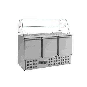 XXLselect Saladette 3 Deurs | Glasopstand | 4x 1/1GN | 1365x700x850(h)mm